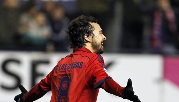De las Cuevas celebra un gol contra el Leganés