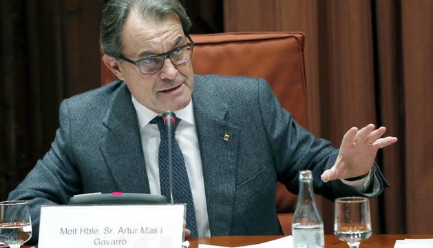 Artur Mas, durante su comparecencia.
