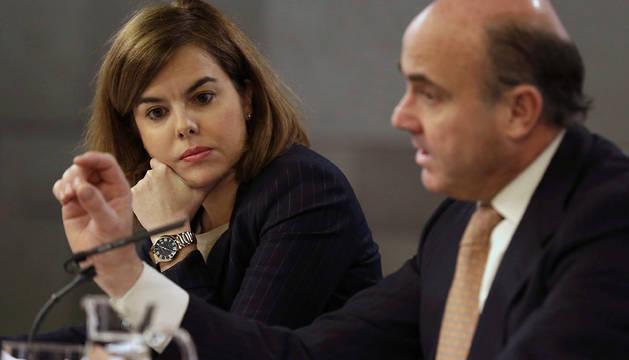 Soraya Sáenz de Santamaría y Luis de Guindos, este viernes