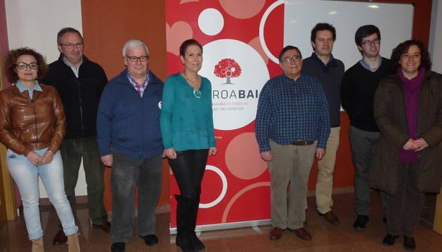 Desde la izquierda, Blanca Regúlez, Koldo Urdiáin y Vicente Soravilla flanquearon a Barcos y Gómez de Segura, junto al que se situaron Iñaki Agirre Pablo Ezcurra y Larraitz Trinkado.