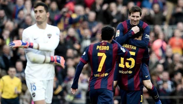 Messi celebra un gol contra el Levante