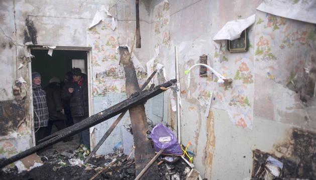 Un edificio destrozado en Ucrania