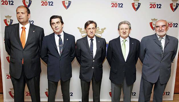 Txuma Peralta, José Manuel Purroy, Miguel Archanco, Juan Pascual y Manolo Ganuza, durante la presentación de su candidatura a la presidencia en 2012.