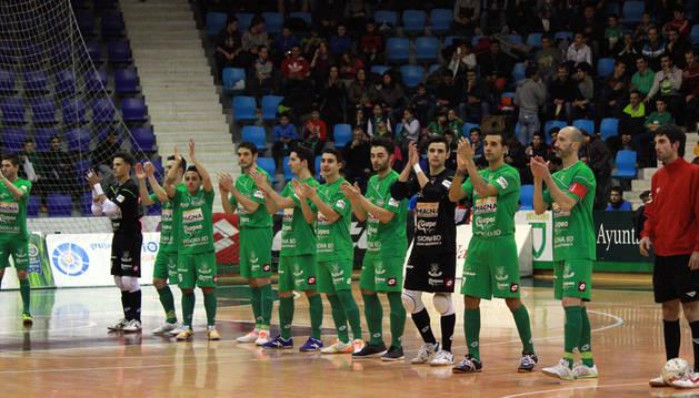 Partido correspondiente a la Jornada 23 de la Liga Nacional de Fútbol Sala, temporada 2014/2015, disputado en el pabellón Anaitasuna entre el Magna Xota y el Palma Futsal.