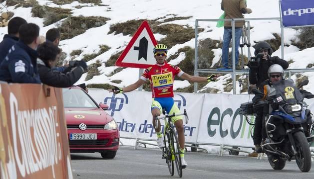 Contador, en el alto de Haza Llanas