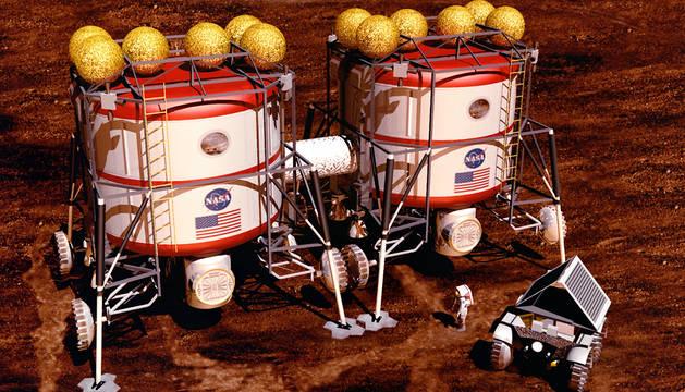 Recreación de la NASA de una misión a Marte.