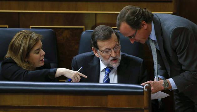 Sáenz de Santamaría, Rajoy y Alonso, en el debate del estado de la nación