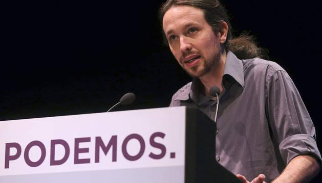 El secretario general de Podemos, Pablo Iglesias, durante su intervención en