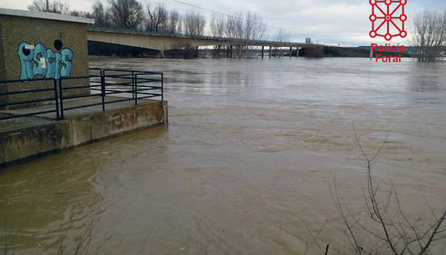 El Ebro, a su paso por Castejón, esta mañana.