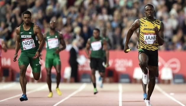 Usain Bolt, en un 4x100
