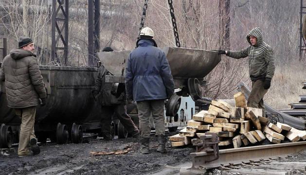 Exterior de la mina de carbón en Zasyadko.