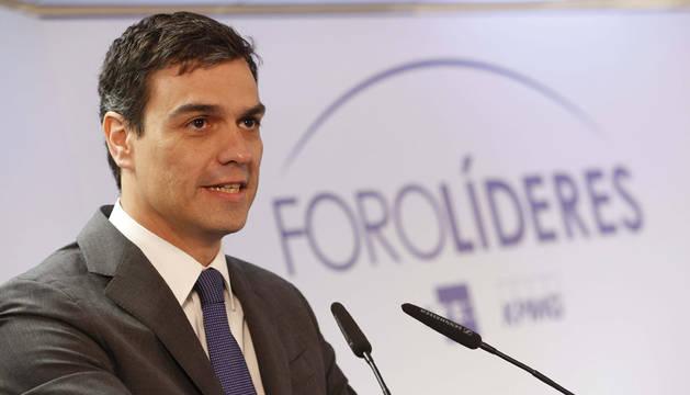 Pedro Sánchez, en el encuentro informativo Foro Líderes.