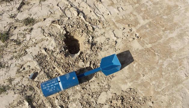 El proyectil, de unos 45 centímetros de largo.
