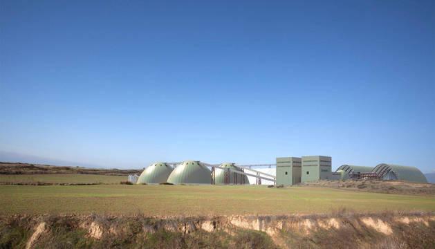 Recreación en 3D de cómo sería la futura planta de tratamiento del mineral extraído, ubicada en término de Sangüesa.