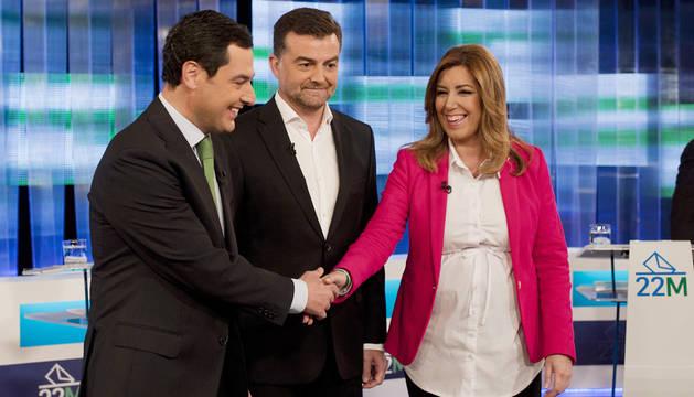 Juanma Moreno, Antonio Maíllo y Susana Díaz.