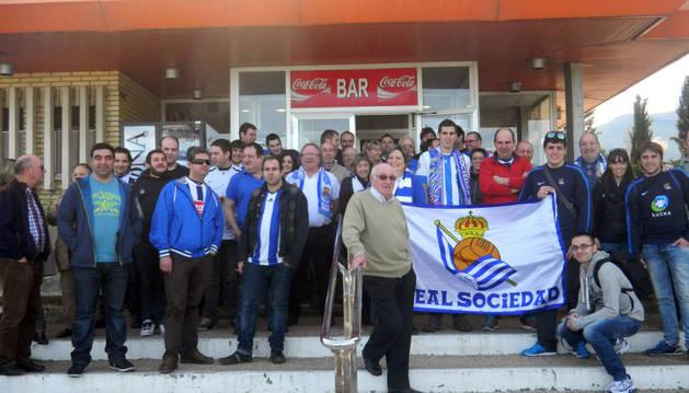 Los participantes en el viaje de la Peña Real Sociedad de Tudela