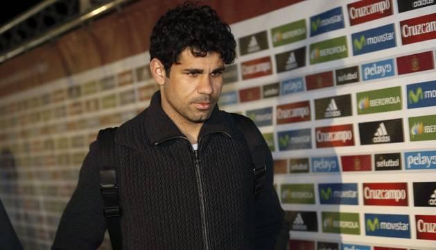 Diego Costa, en su llegada a la concentración