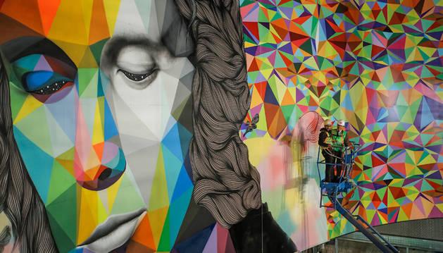 El mural con el retrato de Lucía