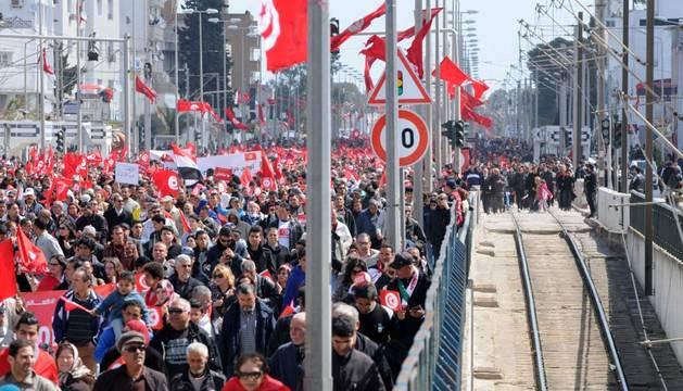 En la manifestación en Túnez