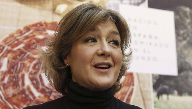 La ministra de Agricultura, Alimentación y Medio Ambiente, Isabel García Tejerina,durante la presentación de la campaña de promoción de alimentos de España en el exterior que protagonizará Rafael Nadal.