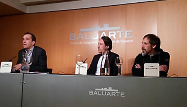 Javier Lacunza, Joaquín Taboada y Silverio Cavia (Neonymus), este lunes durante la presentación de 'Abre la Muralla. Otras Músicas'.