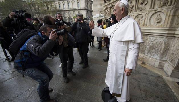 La figura de cera del papa Francisco.