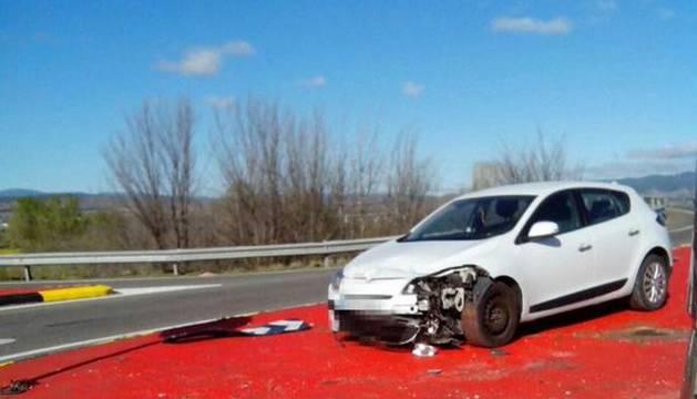 El coche accidentado, en la N-113