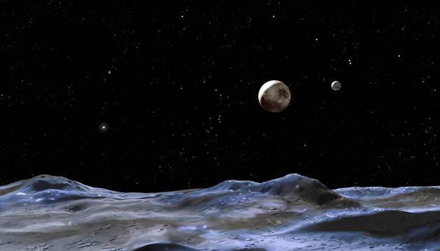 Recreación de la superficie de Plutón.