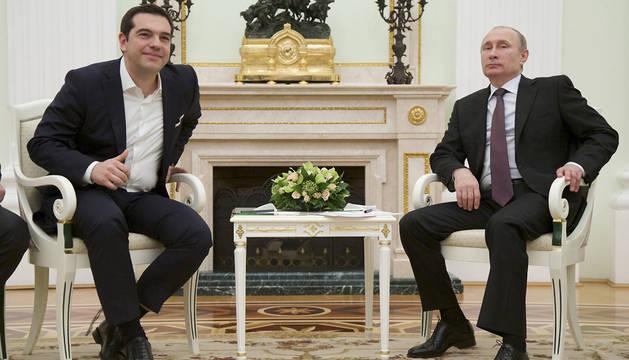 El presidente ruso, Vladímir Putin y el primer ministro griego, Alexis Tsipras.