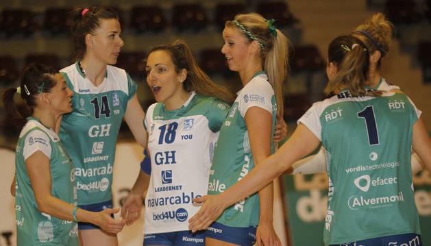 Las jugadoras del GH Leadernet Navarcable, en la UN.