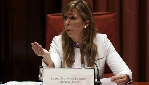La presidenta del PPC, Alícia Sánchez-Camacho, durante su comparecencia.