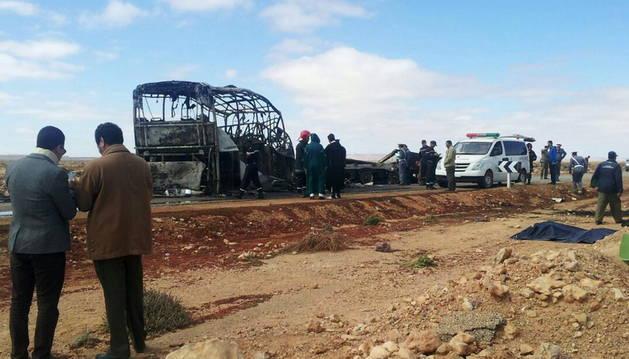 Lugar del accidente de autobús en Marruecos.