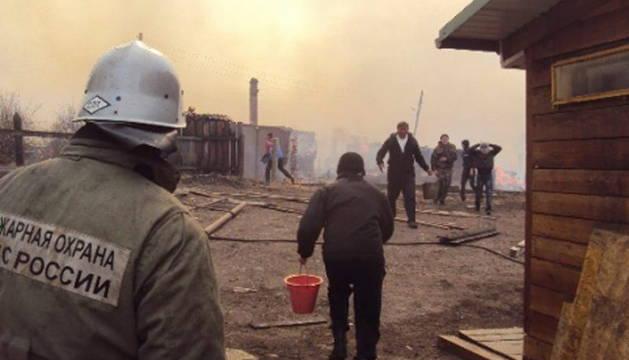 Imagen del humo de los incendios en Siberia.