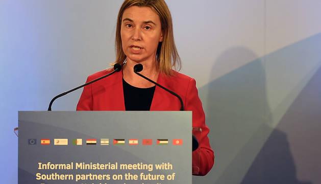 Federica Mogherini, durante su intervención este lunes en Barcelona.