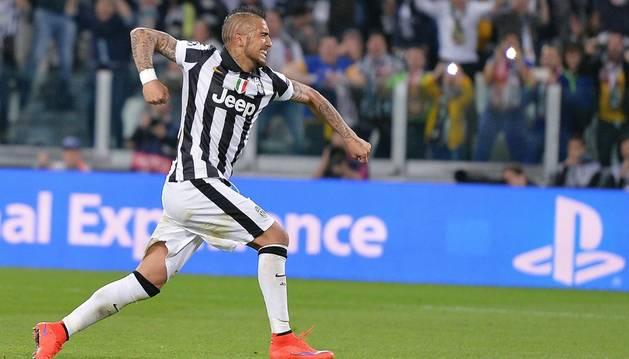 Vidal celebra su gol contra el Mónaco