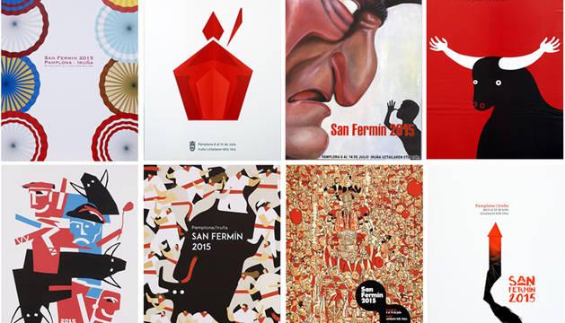 Foto de los 8 carteles elegidos como finalistas.