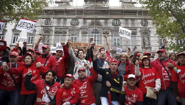 Manifestación de trabajadores de Coca-Cola.