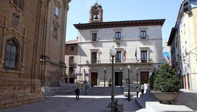 La plaza Vieja de Tudela, en la actualidad.