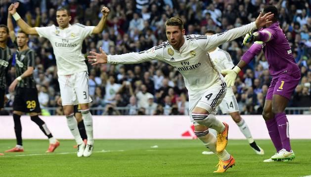Sergio Ramos celebra el 1-0