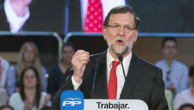 Rajoy, durante un acto del partido celebrado este sábado en Murcia.