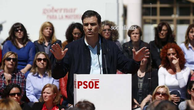 El secretario general del PSOE, Pedro Sánchez, durante su intervención en un acto por la Igualdad organizado por el PSM.