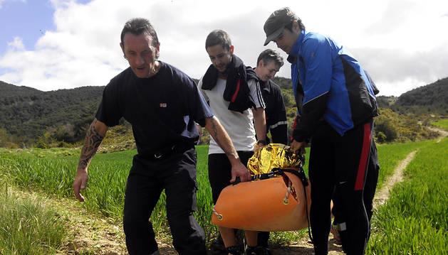 Momento del rescate en Sorauren.