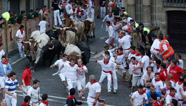 Segundo encierro de las fiestas de San Fermín 2013.