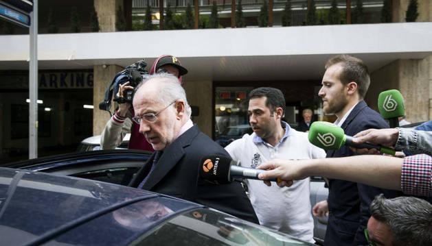 Rodrigo Rato, a su salida de su domicilio de Madrid.