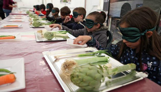 Unos 600 escolares saborean las verduras de la Mejana Tudela