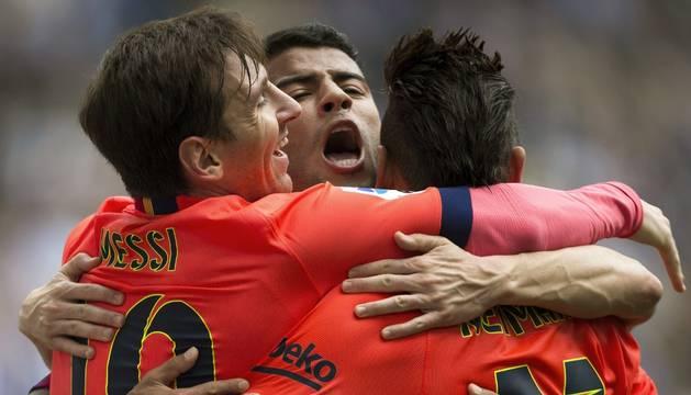 Rafinha, Messi y Neymar.