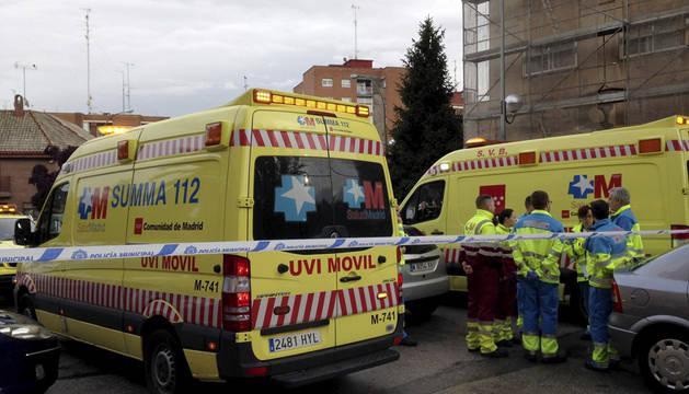 Fotografía facilitada por Emergencias Madrid del lugar donde tres jóvenes murieron.