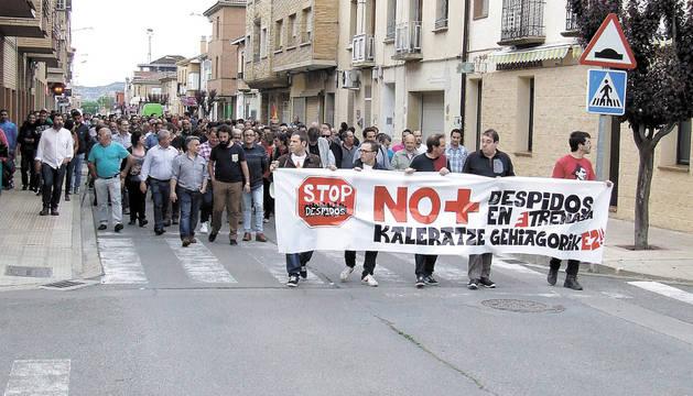 Imagen de la manifestación de los trabajadores de Trenasa celebrada el pasado sábado en Castejón.