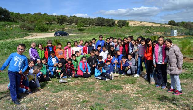 Alumnos de 3º y 5º de Primaria del colegio público Virgen de la Cerca en el término de La Currilla.