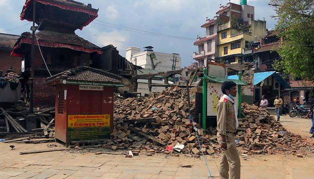 Fotografía tomada el pasado lunes en el complejo de Bashantapur Durbar, en Katmandú.